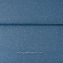 Bord-côte bleu jeans lurex argent