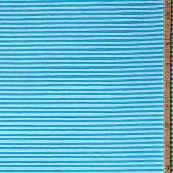 Jersey bio stretch rayé blanc/turquoise