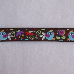 Ruban oiseaux lurex chocolat