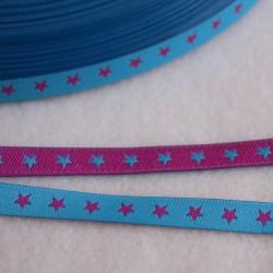 Ruban petites étoiles fuchsia/turquoise