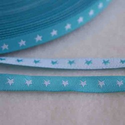 Ruban petites étoiles blanc/turquoise