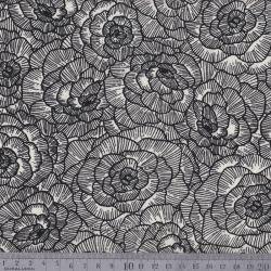 Viscose/lin fleurs noir