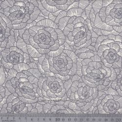 Viscose/lin fleurs gris