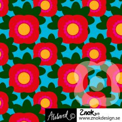 Sweat bio retro flowers turquoise/rouge