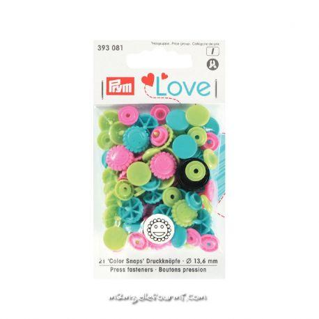 Pressions Prym fleurs assortiment multicolore