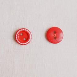 Bouton 11 mm surpiqué rouge