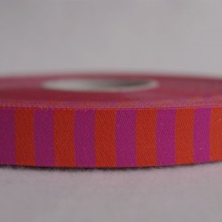 Ruban rayé fuchsia/orange