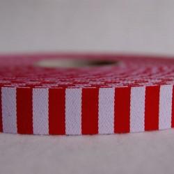 Ruban rayé rouge/blanc