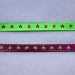 Ruban petites étoiles vert fluo