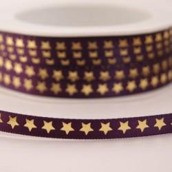 Ruban étoiles dorées violet