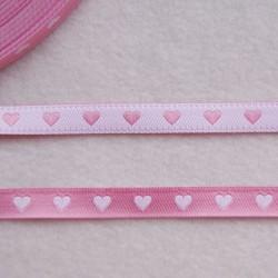 Ruban cœurs rose/blanc