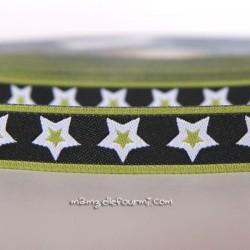 Ruban étoiles noir/olive
