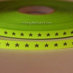 Ruban petites étoiles jaune fluo/argent