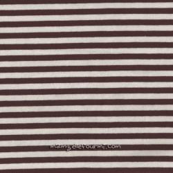 Jersey bio stretch rayé écru/chocolat