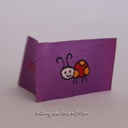 Étiquette handmade coccinelle violet