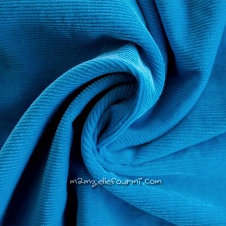 Velours milleraies turquoise