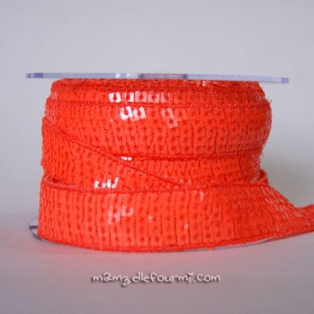 Galon à sequins fluo orange