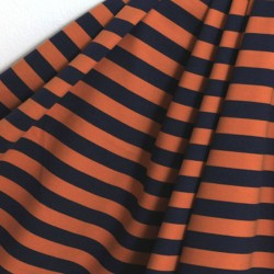 Sweat bio rayé orange-marine