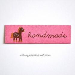 "Étiquette ""handmade"" ponylove rose"