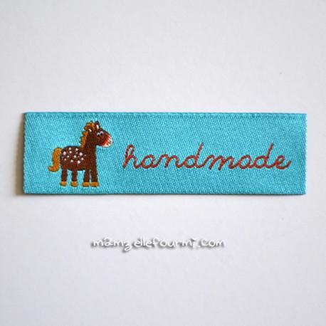 "Étiquette ""handmade"" ponylove turquoise"