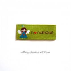 "Étiquette ""handmade"" angel verte"