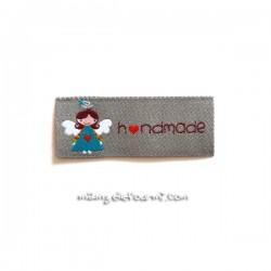"Étiquette ""handmade"" ange grise"