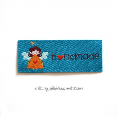 """Étiquette """"handmade"""" angel turquoise"""