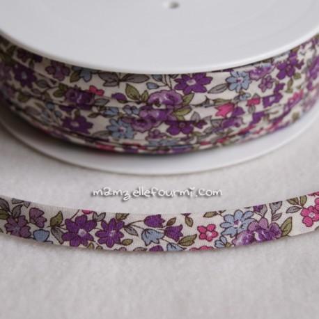Biais Frou-Frou fleuri écru/violet