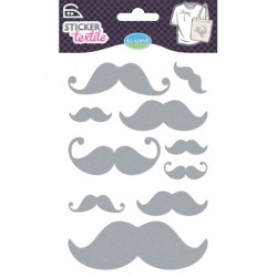 Sticker textile moustaches glitter