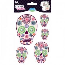 Sticker textile têtes de mort fleuries