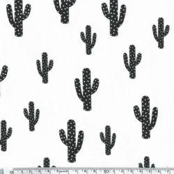 Jersey coton/élasthanne Cactus blanc