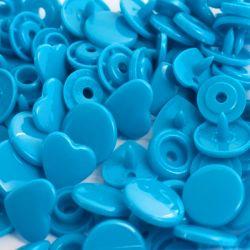 Pressions KAM cœur bleu turquoise