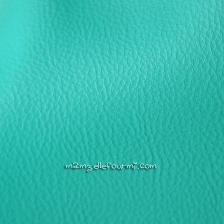 Similicuir grainé turquoise