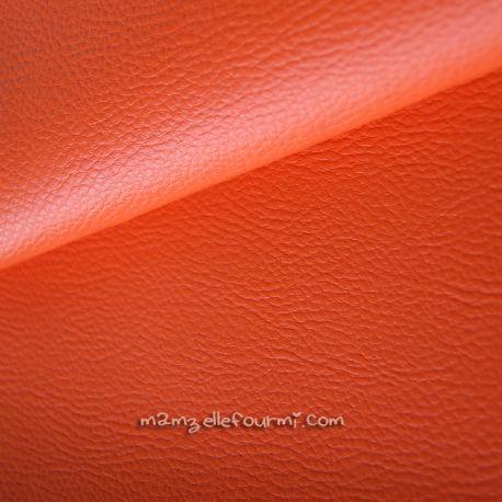 Similicuir grainé orange