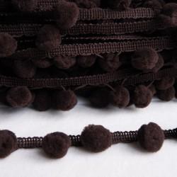 Galon à pompons chocolat