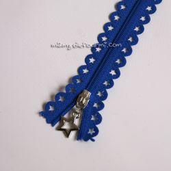 """Fermeture Éclair dentelle """"étoile"""" bleu outremer"""