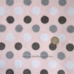 Fourrure doudou rose pois gris