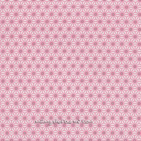 Cretonne saki ivoire/rose