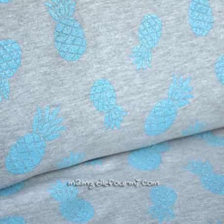 Molleton ananas glitter bleu