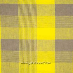 Lin à carreaux taupe/jaune