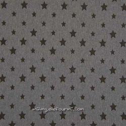 Bord-côte gris chiné étoiles noires