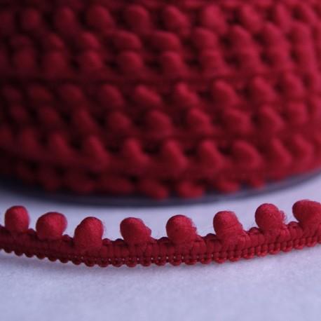 Galon à mini pompons rouge