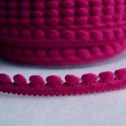 Galon à mini pompons fuchsia