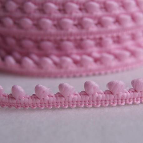 Galon à mini pompons rose