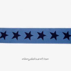 Élastique shorty étoiles jean/marine-40 mm