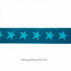 Élastique shorty étoiles pétrole/turquoise-40 mm