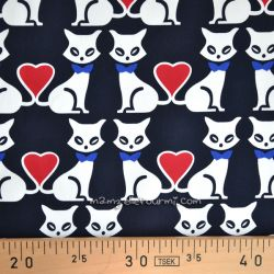 Satin de coton stretch love cats