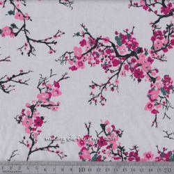 Satin de coton fleurs de cerisier gris