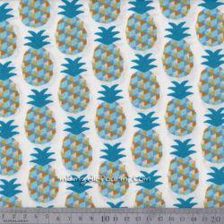 Cretonne mini ananas bleu