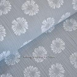 Double gaze fleurs gris clair